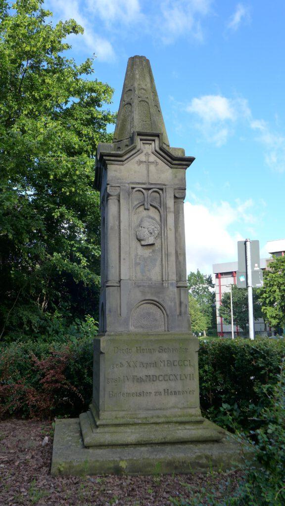 Denkmal an Diederich Heinrich Schrader, Schwimmmeister an der Ihme (Quelle: https://de.wikipedia.org/wiki/Diederich_Heinrich_Schrader)